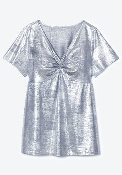 Metallic Knot-Front Tee with V-Neck,