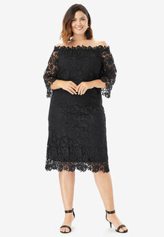 ffae818a57 Off-The-Shoulder Lace Dress with Bell Sleeves