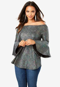 Bell Sleeve Metallic Top,