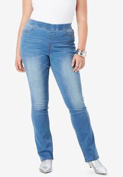 No-Gap Slim Bootcut Jean by Denim 24/7®, LIGHT STONEWASH
