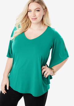 Pleated Overlay Tee with Flutter Sleeves,