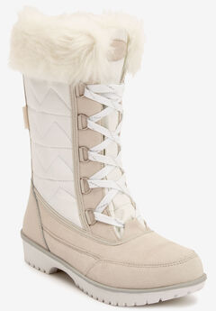 The Eileen Waterproof Wide Calf Boot by Comfortview®, WHITE