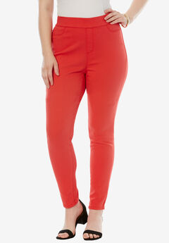 The No-Gap Jegging by Denim 24/7®, CORAL RED