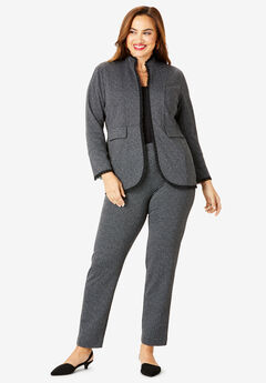 2-Piece Ponte Pantsuit with Ruffle Trim, BLACK HERRINGBONE