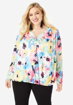 Wrap-Front Blouse with High-Low Hem,
