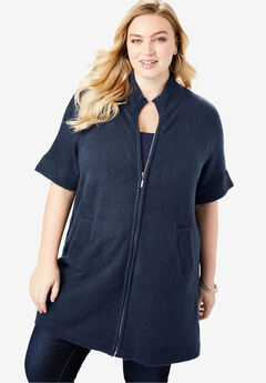 Soft Luxe Zip-Front Cardigan, NAVY