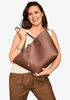 Faux Leather Reversible Tote,