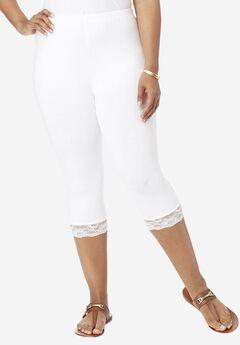 Essential Stretch Lace-Trim Capri Legging,