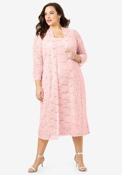 Lace & Sequin Jacket Dress Set, PALE BLUSH