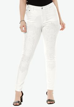 Embroidered Skinny Jean by Denim 24/7®,