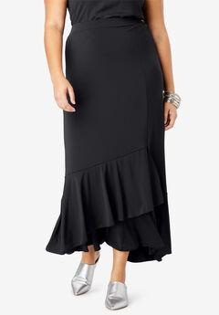 A-Line Maxi Skirt with Ruffle Hem, BLACK