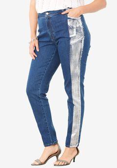Distressed Metallic Skinny Jean,