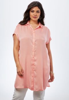 Button-Front Super Tunic, PRETTY CORAL