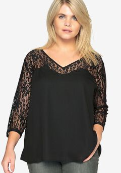 Lace-Sleeve Blouse by Castaluna,