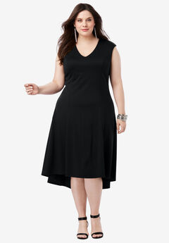 Ultimate Ponte Fit & Flare Dress with High-Low Hem, BLACK