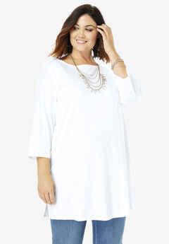 Boatneck Ultimate Tunic with Side Slits, WHITE