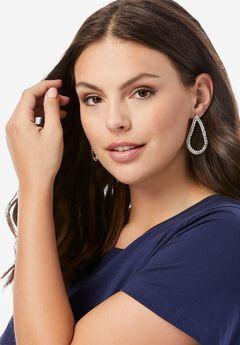 Studded Teardrop Earrings with Rhinestones,