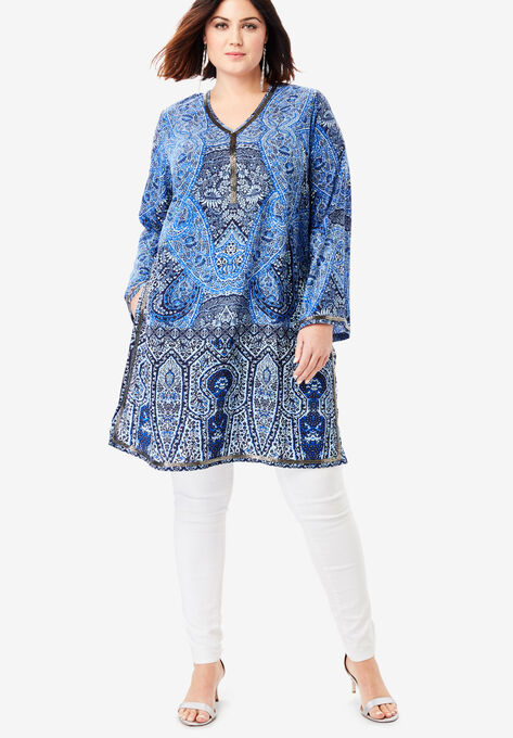 ee389b0b5e8 Beaded Tunic with Side Slits| Plus Size 36 Inches Long | Full Beauty
