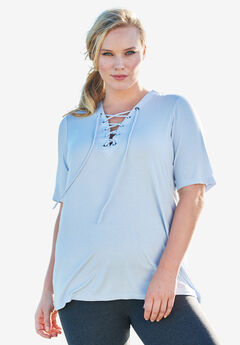 Lace-Up Drape Tee,