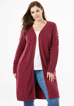 Long Cardigan with Pearl Embellishments,