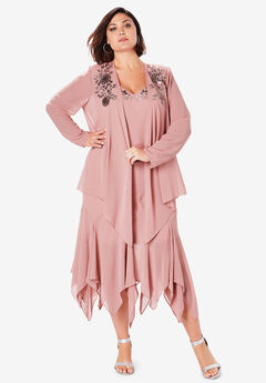 Sequin Jacket Dress Set, SOFT MAUVE