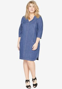 Denim Shift Dress by Castaluna,