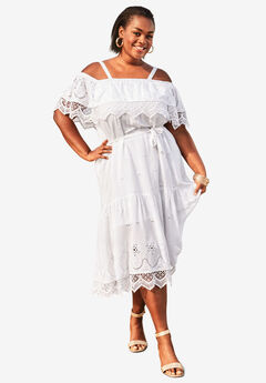Tiered Eyelet Dress with Lace Trim,