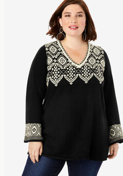 Fit-And-Flare Tunic Sweater, BLACK IVORY FAIR ISLE