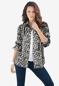 Long-Sleeve Kate Shirt, BLACK WHITE CHEETAH