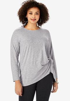 Knot-Front Tee with High-Low Hem,