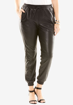 Faux Leather Track Pants,