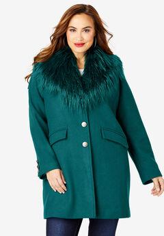 Short Wool-Blend Coat, DARK HUNTER