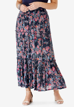 Tiered Crinkle Skirt, NAVY FLORAL PAISLEY