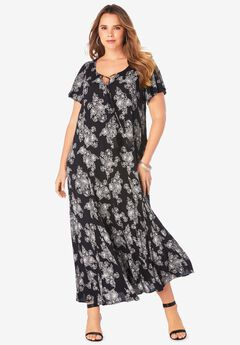 Crinkle Flare-Sleeve Maxi Dress,