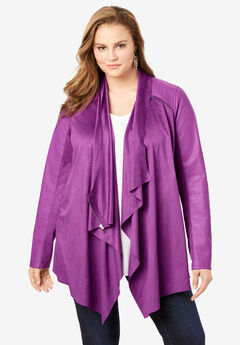 Soft Draped Jacket, PURPLE MAGENTA