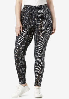 Ankle-Length Essential Stretch Legging, BLACK STRIPED DOTS