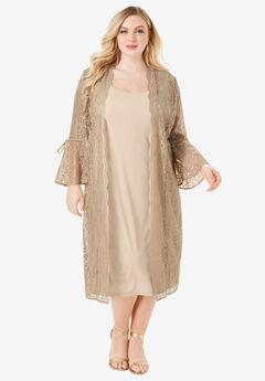 Lace Duster Jacket Dress Set, SPARKLING CHAMPAGNE