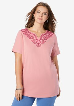 Embroidered Notch-Neck Soft Knit Tunic,
