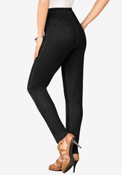 Pull-On Stretch Denim Skinny Jean by Denim 24/7®, BLACK DENIM
