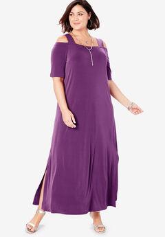 Cold-Shoulder Maxi Dress, PLUM PURPLE
