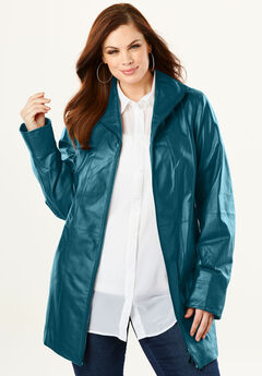 A-Line Leather Jacket, MIDNIGHT TEAL