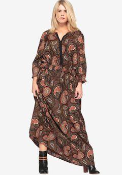 Paisley Maxi Dress with Drawstring by Castaluna,