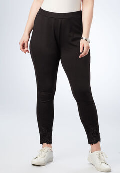 Lace Ultimate Ponte Legging, BLACK