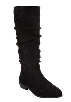 The Shelly Wide Calf Boot by Comfortview®, BLACK
