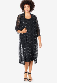 Lace & Sequin Jacket Dress Set,