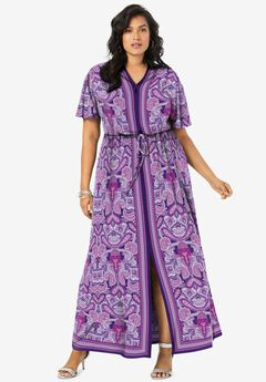 Ultrasmooth® Border-Print Maxi Dress,