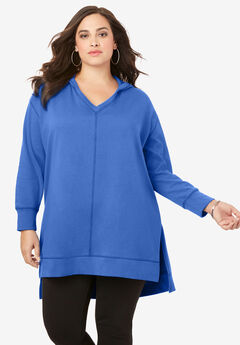 Tunic Hoodie with High-Low Hem,