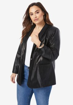 Faux-Leather Blazer,