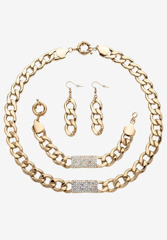 Crystal & Gold Link Necklace, Bracelet & Earring Set,