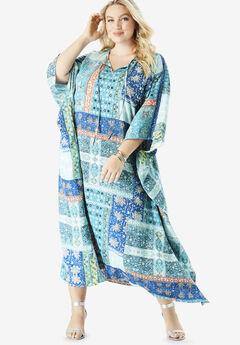 Georgette Caftan Dress with Kimono Sleeves,